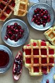 Waffle And Pomegranate Seeds
