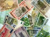 Background. Euro Banknotes And Belarus Currency (rubles)