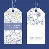Vector ornamental abstract swirls vertical stripe frame pattern tags set