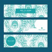 Vector soft peacock feathers horizontal banners set pattern background