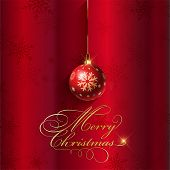 Decorative Christmas background with hanging bauble