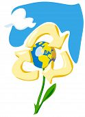 Keep the Earth - recycle. Allegory with flower, globe and sky