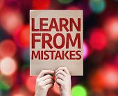 Learn From Mistakes card with colorful background with defocused lights