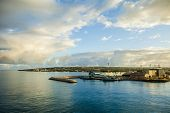 The harbor in Bridgetown Barbados at dawn.