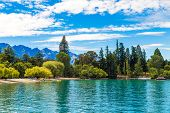 Mountain and lake in Queenstown, New Zealand, South Island