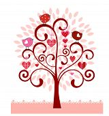 Coil tree with valentine hearts birds leaves