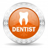 dentist orange icon, christmas button