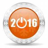 new year 2016 orange icon, christmas button, new years symbol