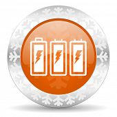 battery orange icon, christmas button, power sign