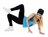 Hip hop dancer dancing isolated on white