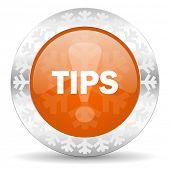 tips orange icon, christmas button