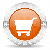 cart orange icon, christmas button, shop sign