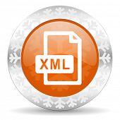 xml file orange icon, christmas button