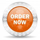 order now orange icon, christmas button
