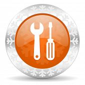tools orange icon, christmas button, service sign