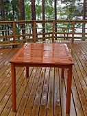 Outdoor table after rain poster