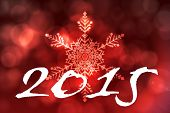 2015 against red snow flake pattern design