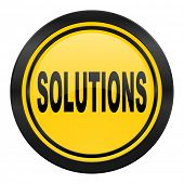 solutions icon, yellow logo,