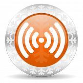 wifi orange icon, christmas button, wireless network sign