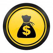 money icon, yellow logo,