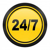 24/7 icon, yellow logo,