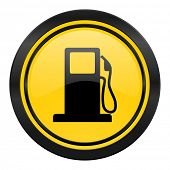 petrol icon, yellow logo, gas station sign