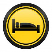 hotel icon, yellow logo, bed sign