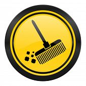 broom icon, yellow logo, clean sign
