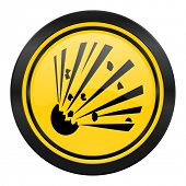 bomb icon, yellow logo,