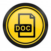 doc file icon, yellow logo,