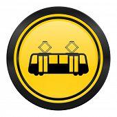 tram icon, yellow logo, public transport sign