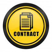 contract icon, yellow logo,