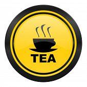 tea icon, yellow logo, hot cup of tea sign