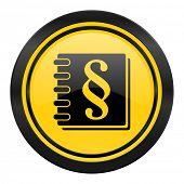 law icon, yellow logo,
