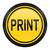 print icon, yellow logo,