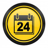 calendar icon, yellow logo, organizer sign, agenda symbol