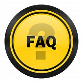 faq icon, yellow logo,