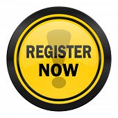 register now icon, yellow logo,