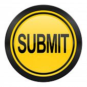 submit icon, yellow logo,