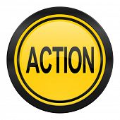 action icon, yellow logo,