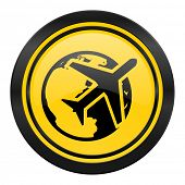 travel icon, yellow logo,