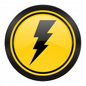 bolt icon, yellow logo, flash sign