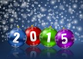 new years 2015 background with christmas balls