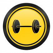 fitness icon, yellow logo,