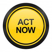 act now icon, yellow logo,