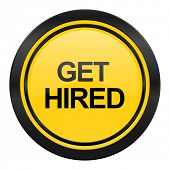 get hired icon, yellow logo,