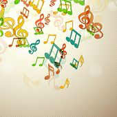 Colorful musical notes over seamless background.