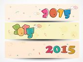 Website header or banner set with colorful text of 2015 for Happy New Year and Merry Christmas celebration.