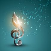 stock photo of g clef  - Shiny silver 3D g - JPG