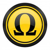 omega icon, yellow logo,